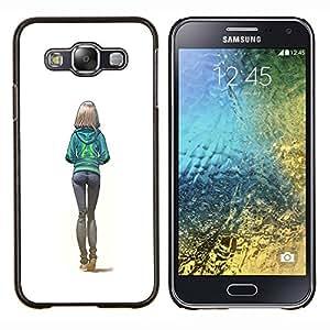 Culos Sexy White Girl Colegio Mujer- Metal de aluminio y de plástico duro Caja del teléfono - Negro - Samsung Galaxy E5 / SM-E500