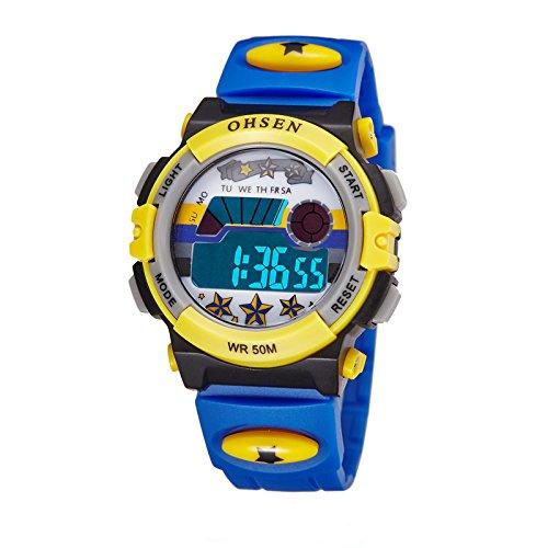 Advanced Chronograph Timer (eYotto Children Kid's Boy Girl Out-door Sports Alarm Multi-function Digital Wristwatch Watch Blue)