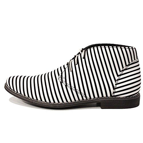 PeppeShoes Modello Zebra - Handmade Italiano da Uomo in Pelle Bianca Chukka Boots - Vacchetta Pelle Morbido - Allacciare