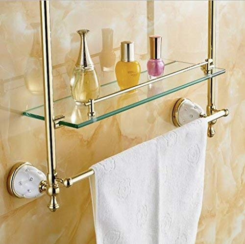 Tungchilan Bathroom Accessories Solid Brass Golden Finish with Tempered Glass Multifunctional Storage Box