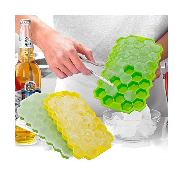 Vassoi per cubetti di ghiaccio Confezione da 2 stampi per cubetti di ghiaccio in silicone per alimenti con coperchio… 5 spesavip