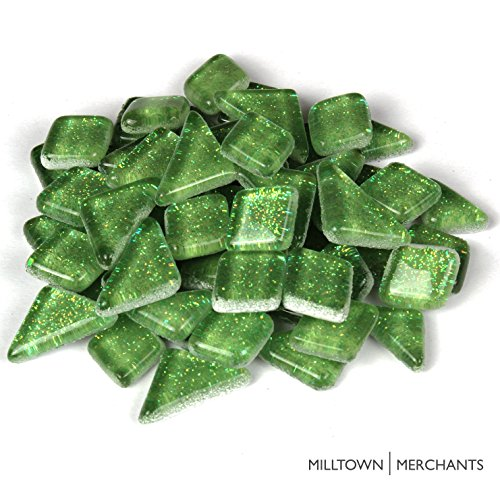 - Milltown MerchantsTM Light Green Glitter Mosaic Tile Pieces - Bulk Sparkle Mosaic Tiles - 1 Pound (16 oz) Shimmer Tile Assortment For Backsplash, Murals, Stepping Stones, and Mosaics
