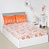 Solimo Jasmine Zest 144 TC 100% Cotton Double Bedsheet with 2 Pillow Covers, Peach