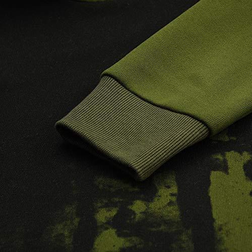 En Manches Coton Pullover Verte Hoodie Tops Longues Imprimé Homme Sans Armée De Zippé Sport Hiver Sweatshirt Capuche qYw4x0I