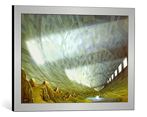 kunst für alle Framed Art Print: Hans-Werner SAHM Fixed Point - Decorative Fine Art Poster, Picture with Frame, 23.6x16.1 inch, Silver Brushed (Fixed Frame Format)
