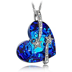 "LadyColour ""Venus"" Swarovski Crystals Heart Sapphire Pendant Necklace,Women Fashion Heart Jewelry,Valentines Day Gifts Mothers Day Gifts Birthday Gifts Anniversary Gifts Christmas Gifts for Women"