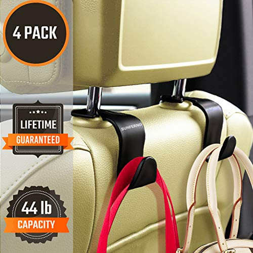 Sunferno Car Headrest Hooks 4 Pack – Stylish Back Seat Hanger for Your Purse, Grocery Bags, Handbag to Keep Them from…