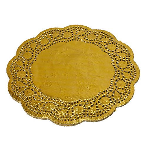Geeklife Gold Foil Paper Doilies, Round Lace Doilies,10.5 Inches,40 Count