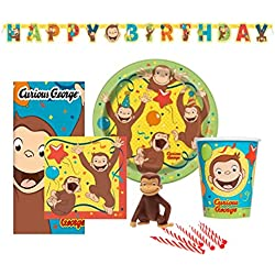 Birthday Party Set Supplies for 8 - Dessert Plates 8ct. Cups 8 ct. Napkins 8 ct. and Cake Topper & Birthday Candle Set (Full Set)