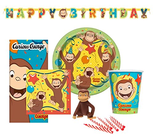 Curious George Birthday Party Set Supplies for 8 - Dessert Plates, Cups, Napkins, Banner and Cake Topper with Birthday Candle Set ()