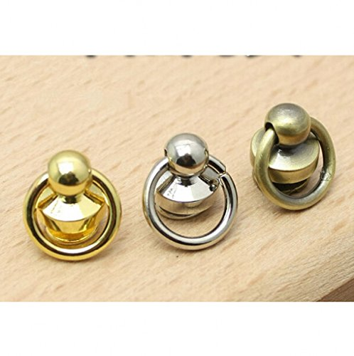 WellieSTR 30PCS(3 COLOR) Leather craft Ball post with D ring Alloy Screw/Nail Rivet/round head button stud/chicago screw,10pcs per (Round Rivet)