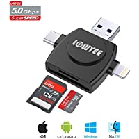SD / Micro SD Card Reader, LOWYEE TF & MicroSD Memory Card Camera Adapter for iPhone/iPad/Galaxy S8/Macbook Pro, Trail Game Camera Viewer With Lightning/Micro USB/USB Type C Adapter (4 in 1)