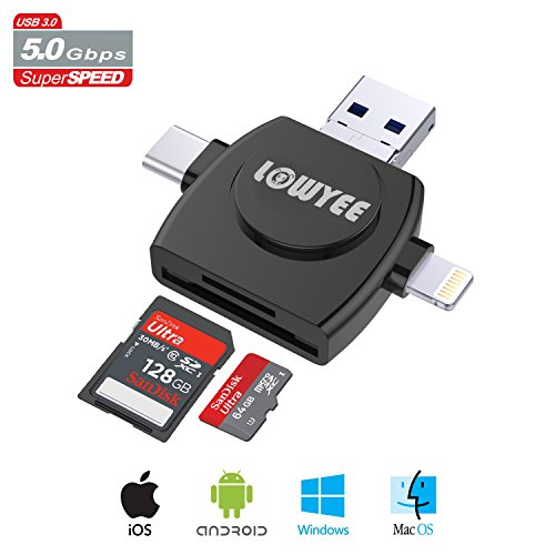 SD / Micro SD Card Reader, LOWYEE TF & MicroSD Memory Card Camera Adapter for iPhone/iPad/Galaxy S8/Macbook Pro, Trail Game Camera Viewer With Lightning/Micro USB/USB Type C Adapter (4 in 1) from LOWYEE