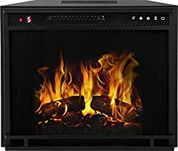 33 Inch LED Ventless Electric Space Heater Built-in Recessed Firebox Fireplace Insert by Gibson Living
