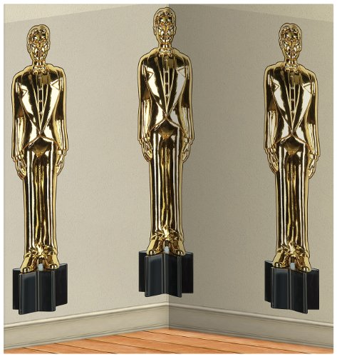Beistle 52126 Awards Night Male Statuettes Backdrop, 4-Feet by (Hollywood Express)