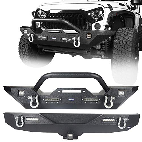 Hooke Road Textured Black Different Trail Front Bumper + Rear Bumper w/2