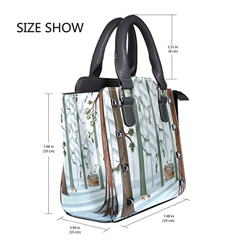 PU Messenger Shoulder Bag LIANCHENYI Forest For Top Leather Women Handle Single Bags Crossbody Tote Landscape Winter Handbags O7w7drfqzx