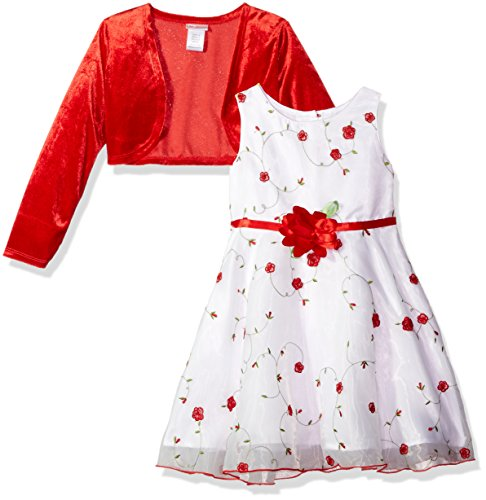 Velour Dress Set (Youngland Little Girls' 2 Piece Set Velour Cardigan With a-Line Dress, Red/White, 5)