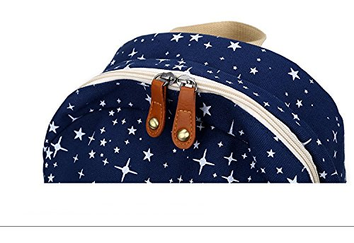 Minetom Lona Backpack Mochilas Escolares Mochila Escolar Casual Bolsa Viaje Moda Salpicado De Estrellas 2 Piezas Embrague Azul
