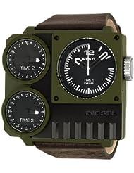 Diesel #DZ7248 Mens Kickstart Leather Strap Triple Time Zone Oversize Square Watch