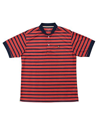 選出するり摂動アーノルドパーマー メンズ ゴルフ ポロシャツ 半袖 ボーダーヘンリーネック半袖シャツ AP220101H04 NV/RD O