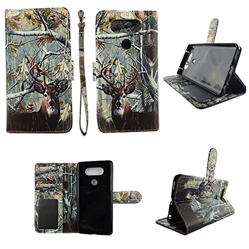 Camo Tail Deer Wallet Folio Case for LG V20 Dual Layer Interior Design Flip PU Leather Cover Card Cash Slots & Stand (Lg Flip Phone Cases Camo)