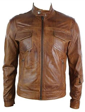 d34b393cde21d Blouson homme cuir véritable style motard biker rétro marron clair coupe  slim