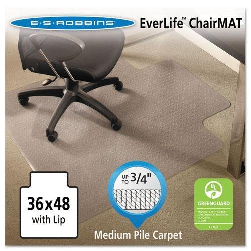 E.S. ROBBINS EverLife Chair Mats For Medium Pile Carpet With Lip, 36 x 48, Clear (122073) by ES Robbins Products
