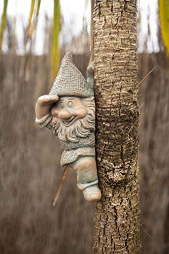 Novelty Garden Gnome Tree Peeker Cheeky Branch Hugger Outdoor Fairy Ornament