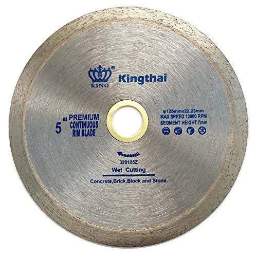 (Kingthai 5 Inch Tile Continuous Rim Diamond Saw Blade for Cutting Ceramic Porcelain,Wet Cutting, 7/8