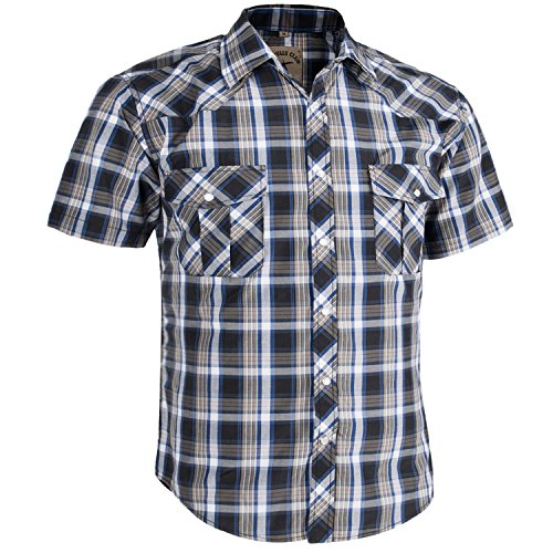 Coevals Club Men's Casual Plaid Snap Front Short Sleeve Shirt (Blue / gray #7, - Pocket Two Plaid