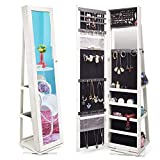 TWING Jewelry Organizer Jewelry Cabinet 360 Rotating, Lockable Standing Wall Jewelry Armoire