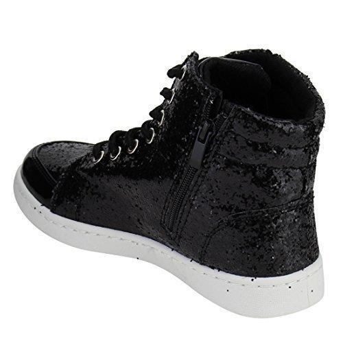 Forever Link Womens Hi Top Glitter Sneakers, Black 5