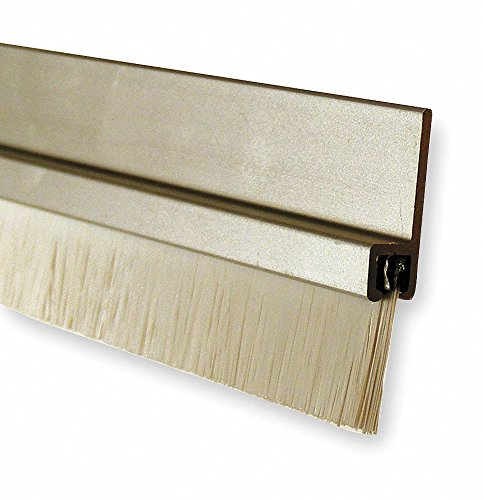 Brush Door Sweep, Anodized Aluminum, 4 ft. Length, 7/8'' Flange Height, 5/8'' Insert Size