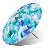 Lily-Lark Blue Squares UV protection sun parasol, rated UPF 50+