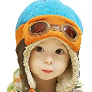 Fullkang Baby Boys Earflap Hat, Winter Warm Pilot Aviator Crochet Caps (Blue)