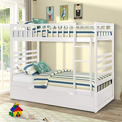 Merax Twin Over Twin Bunk Bed with Trundle Solid Wood Bunk Bed in White Finish