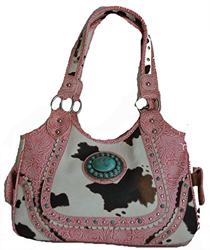 Western Cow Print Cowgirl Rhinestone Turquoise Stone Concho Purse (Pink) (Simulated Stone Trim)