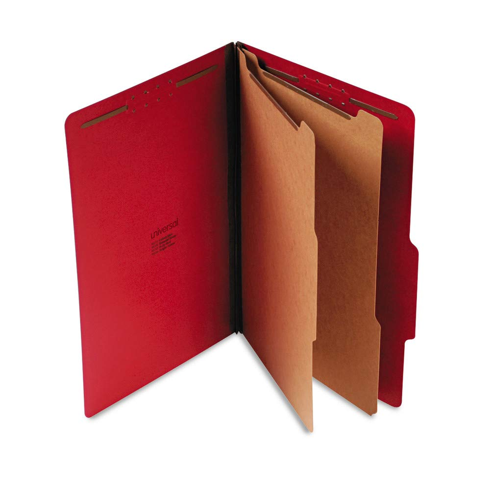 Universal Pressboard Classification Folders, Legal, 6-Section, Ruby Red, 10/box by Universal