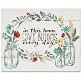 CounterArt 15 by 12-Inch Glass Cutting Board, In This Home Love Blooms Every Day-Floral
