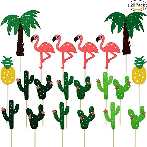 Flamingo Pineapple Cactus Coconut Tree Cupcake Cake Topper Picks For Birthday Wedding Party Supplies, 20 Counts by GOCROWN