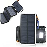 Portable Solar Power Bank, WANDER GEAR Premium, 4 Panel Solar, Dual USB, Emergency Flashlight, 10000mAh, Water Resistant, for Iphone, Android, Ipad, GoPro, Camera, and most USB powered devices.