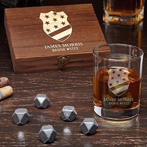 (Thin Blue Line Badge Engraved Whiskey Gift Set with Black Onyx Whiskey Stones (Personalized Product))