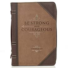 Bible Cover Lux-Leather Strong & Courageous Joshua 1:9
