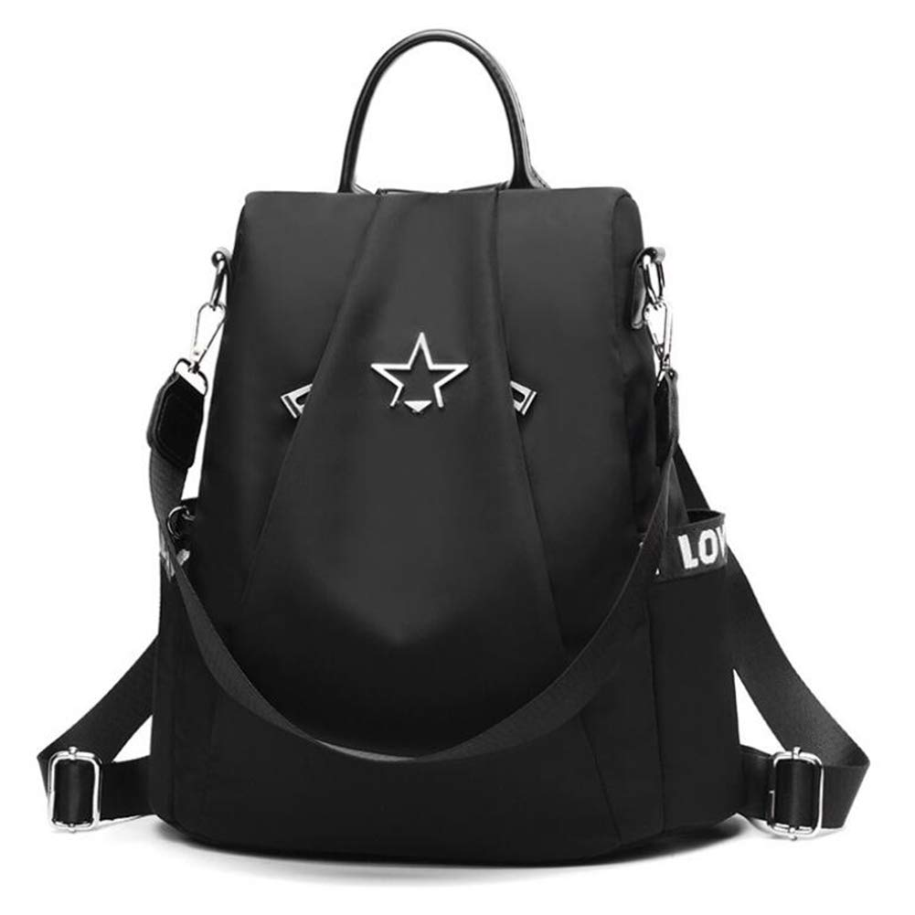 Women Backpack Purse Waterproof Nylon Anti-theft Rucksack Lightweight School Shoulder Bag Black