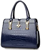 Crocodile Pattern Handbag for Women Ladies - Bright Patent Leather Tote Bag