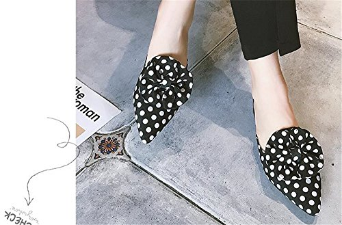 Woman Pointed On Flops Slip Flat Butterfly Loafers Black Toe Mules Slippers Flip Womens dqCwtq