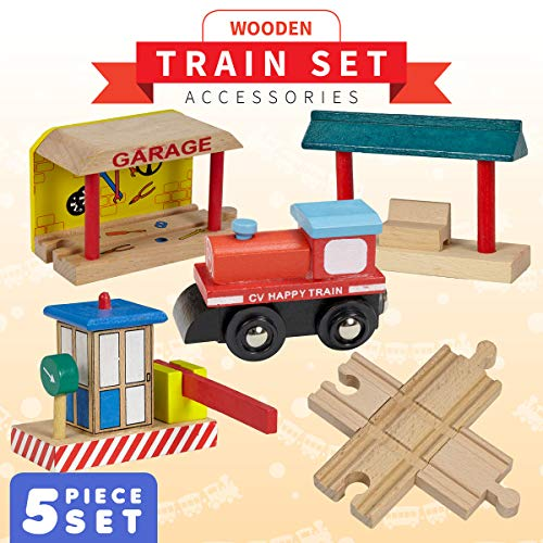 Dragon Drew Wooden Train Accessories Set - Includes Train Car, Garage, Station Platform, Toll and a 4 Way Cross Track - Compatible with Brio, Thomas, Chuggington and All Major Brands ()