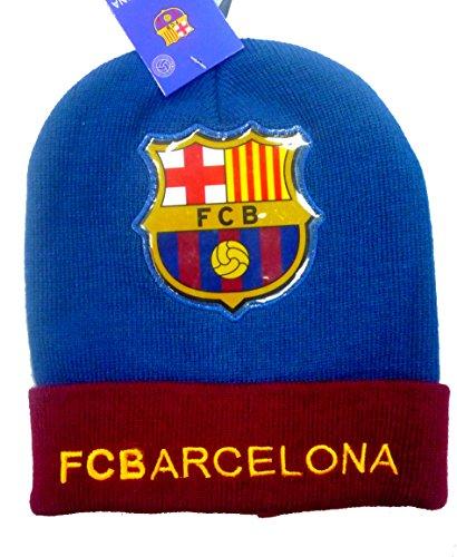 Offiziell lizensierte ORIGINAL FC Barcelona Beanie Mütze mit wunderschönem Barcelona Logo auf der Vorderseite (!) - lizensierter FC Barcelona Fanartike, für Kinder
