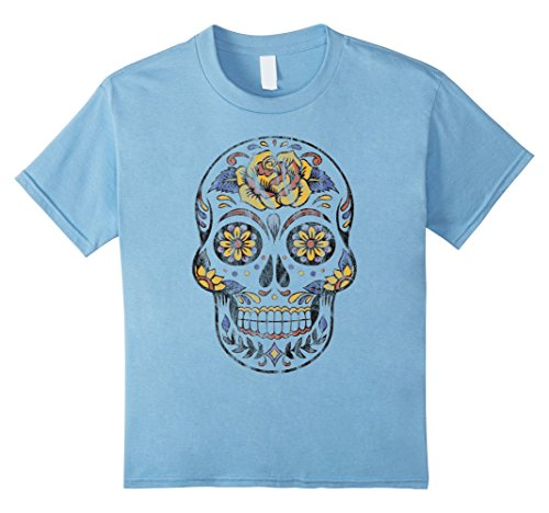 Sugar Skull Costume Male (Kids Halloween Sugar Skull Costume- Men Women T Shirt 12 Baby Blue)